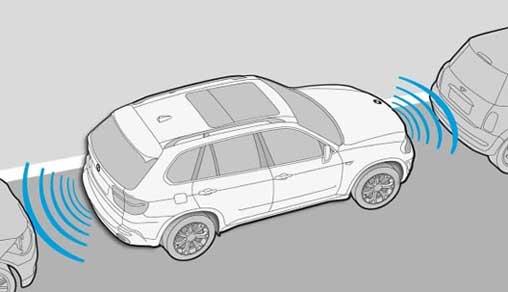 Illustrerad bil som visar avstånd framför och bakom